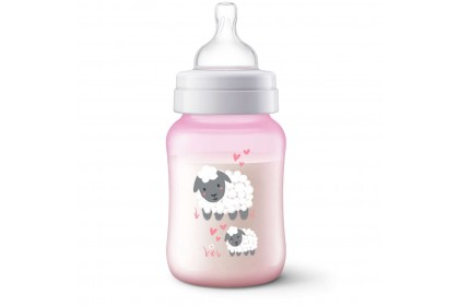 Avent Anti-Colic (Pink) Decorated Bottle 9oz/260ml - Sheep